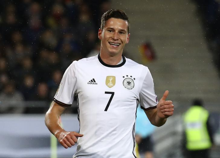 Football Soccer - Germany v Northern Ireland - 2018 World Cup Qualifying European Zone - Group C - HDI Arena, Hannover, Germany - 11/10/16Germany's Julian Draxler celebrates scoring their first goal Reuters / Kai PfaffenbachLivepic