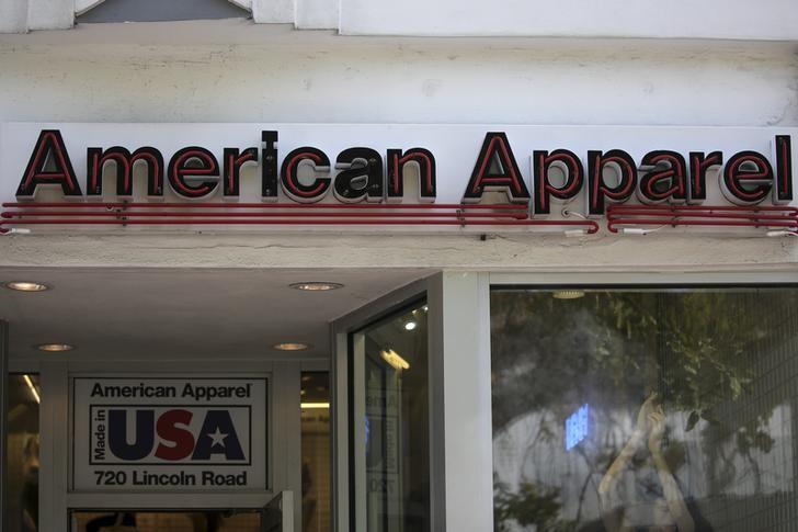 An American Apparel store logo is pictured on a building along the Lincoln Road Mall in Miami Beach, Florida March 17, 2016. REUTERS/Carlo Allegri