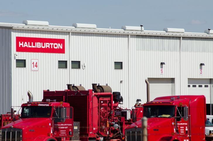 Oil production equipment is seen in a Halliburton yard in Williston, North Dakota April 30, 2016.  REUTERS/Andrew Cullen/File Photo