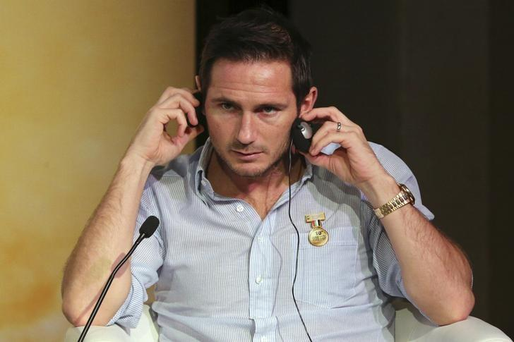 British football player Frank Lampard gestures as he attends a football player career workshop during Dubai International Sports Conference in Dubai, United Arab Emirates December 28, 2015. REUTERS/Ashraf Mohammad/Files