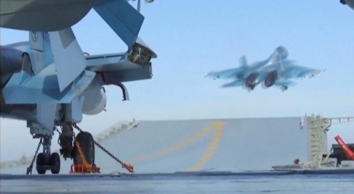A still image taken from a video footage and released by Russia's Defence Ministry on November 15, 2016, shows a jet taking off from Russian Admiral Kuznetsov aircraft carrier near the coast of Syria. Ministry of Defence of the Russian Federation/Handout via REUTERS TV/File Photo