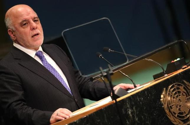 Prime Minister Haider Al-Abadi of Iraq addresses the United Nations General Assembly in the Manhattan borough of New York, U.S., September 22, 2016.  REUTERS/Carlo Allegri