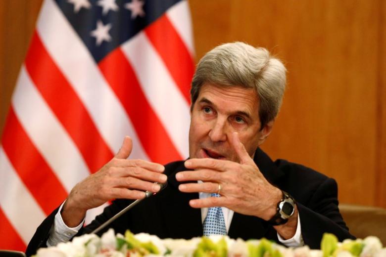 U.S. Secretary of State John Kerry gestures during a news conference in Riyadh, Saudi Arabia December 18, 2016. REUTERS/Faisal Al Nasser