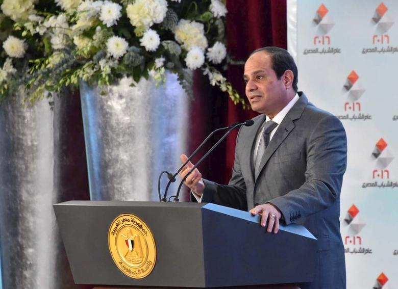 Egyptian President Abdel Fattah al-Sisi delivers a speech during the ''Egypt's vision 2030'' meeting on sustainable development in Cairo, Egypt, in this February 24, 2016 handout picture courtesy of the Egyptian Presidency.  REUTERS/The Egyptian Presidency/Handout via Reuters