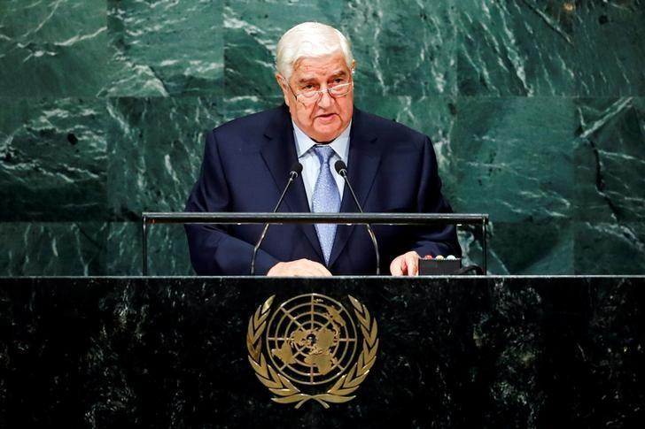 Syria's Foreign Minister Walid al-Moualem addresses the United Nations General Assembly in the Manhattan borough of New York, U.S., September 24, 2016.  REUTERS/Eduardo Munoz
