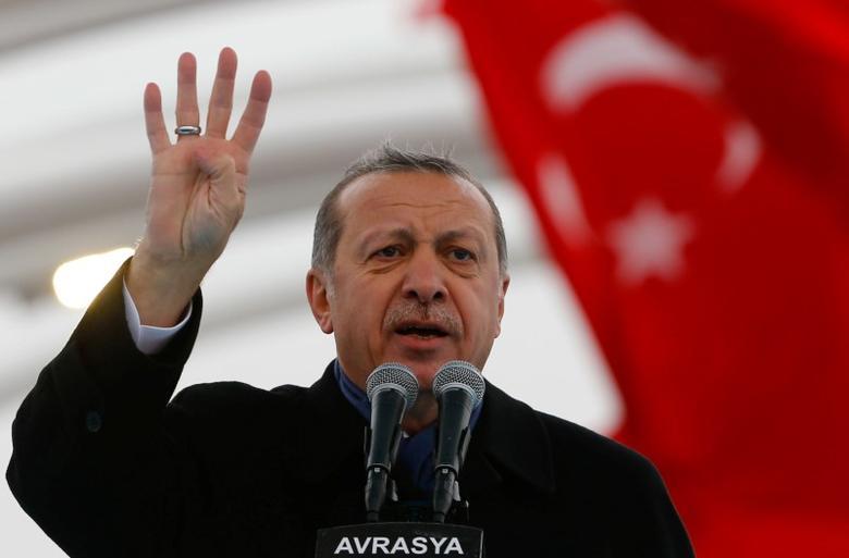 Turkish President Tayyip Erdogan makes a speech during the opening ceremony of Eurasia Tunnel in Istanbul, Turkey, December 20, 2016. REUTERS/Murad Sezer
