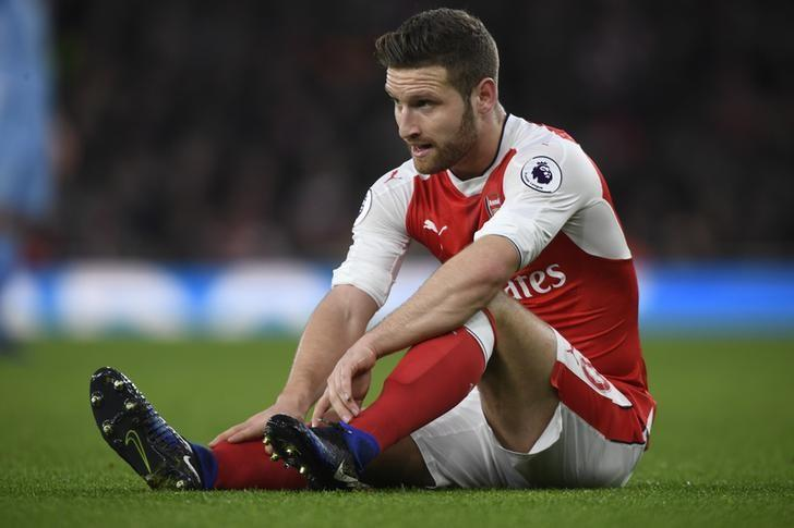 Football Soccer Britain - Arsenal v Stoke City - Premier League - Emirates Stadium - 10/12/16 Arsenal's Shkodran Mustafi sustains an injury Action Images via Reuters / Tony O'Brien Livepic