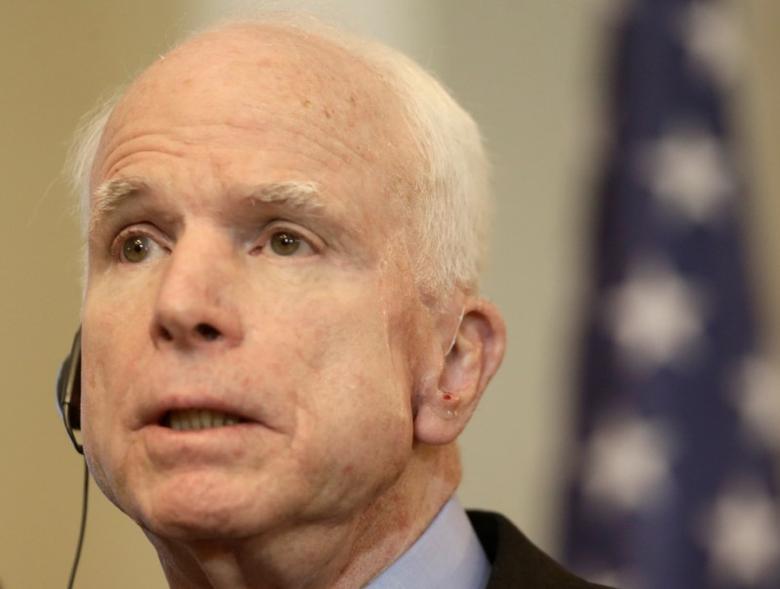 U.S. Senator John McCain speaks during a news conference in Riga, Latvia, December 28, 2016. REUTERS/Ints Kalnins