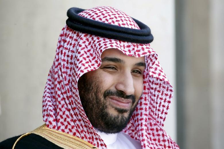 Saudi Arabia's Deputy Crown Prince Mohammed bin Salman reacts upon his arrival at the Elysee Palace in Paris, France, June 24, 2015. REUTERS/Charles Platiau