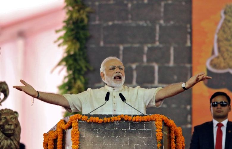 FILE PHOTO: India's Prime Minister Narendra Modi speaks after laying the foundation for the memorial of Chhatrapati Shivaji Maharaj, in Mumbai, India, December 24, 2016. REUTERS/Shailesh Andrade/File Photo