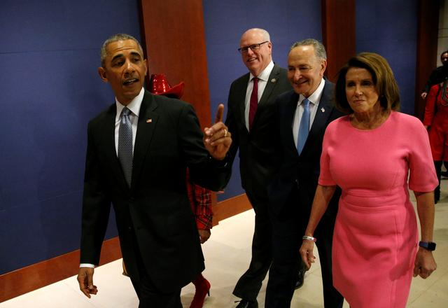 U.S. President Barack Obama arrives with New York Rep. Joe Crowley (3rd R), Senate Democratic Leader Chuck Schumer (2nd R) and House Democratic Leader Nancy Pelosi (R) to meet with House and Senate Democrats to discuss a strategy on congressional Republicans' effort to repeal the Affordable Care Act on Capitol Hill in Washington, U.S., January 4, 2017. REUTERS/Kevin Lamarque