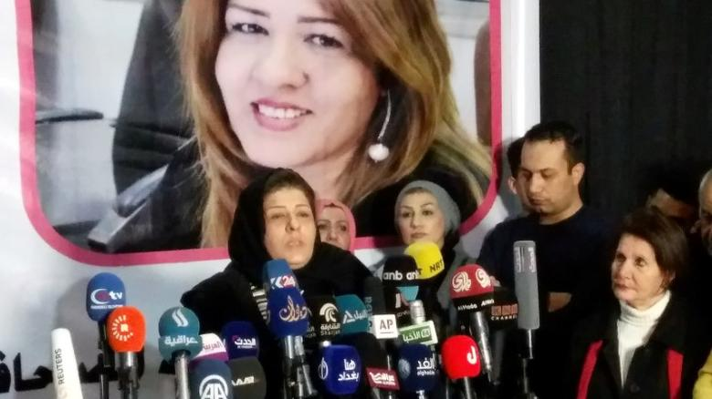 Iraqi journalist Afrah al-Qaisi, who was released unharmed after being kidnapped by unidentified gunmen a week ago, speaks to the media in Baghdad, Iraq January 4, 2017. REUTERS/Ali al-Mashhadani PICTURE TAKEN WITH PHONE CAMERA. BEST QUALITY AVAILABLE.