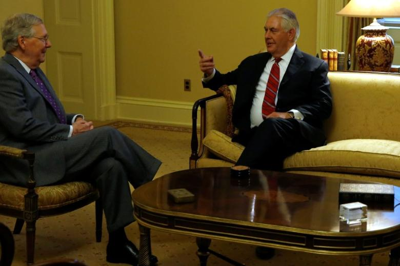 U.S. Senate Majority Leader Mitch McConnell (R-KY) (L) meets with Rex Tillerson (R), U.S. President-elect Donald Trump's pick to be Secretary of State, at the U.S. Capitol on Washington, U.S. January 4, 2017. REUTERS/Jonathan Ernst - RTX2XK0O