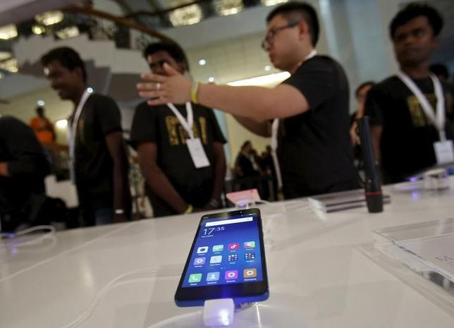 A Xiaomi's Mi 4i phone is kept on display at the venue during its launch in New Delhi April 23, 2015. REUTERS/Anindito Mukherjee/Files
