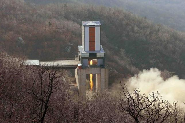 FILE PHOTO: A new engine for an intercontinental ballistic missile (ICBM) is tested at a test site at Sohae Space Center in Cholsan County, North Pyongan province in North Korea in this undated photo released by North Korea's Korean Central News Agency (KCNA) on April 9, 2016. KCNA/via REUTERS/File Photo