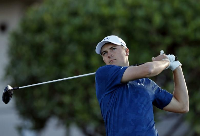 Jan 8, 2017; Maui, HI, USA; PGA golfer Jordan Spieth tees off on the first hole during the final round of the Tournament of Champions golf tournament at Kapalua Resort - The Plantation Course. Jordan Spieth