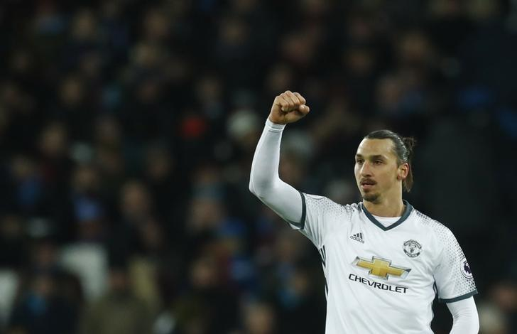 Manchester United's Zlatan Ibrahimovic celebrates scoring their second goal  Reuters / Eddie Keogh