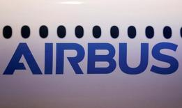 The logo of Airbus is pictured on a scale model of an Airbus A350-1000 during its maiden flight event in Colomiers near Toulouse, Southwestern France, November 24, 2016.  REUTERS/Regis Duvignau/File Photo