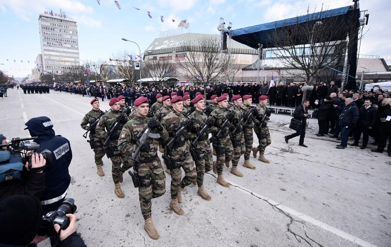 Members of special police forces of Republic of Srpska march during a parade marking the anniversary of Republic of Srpska in Banja Luka, Bosnia and Herzegovina, January 9, 2017. REUTERS/Aleksandar Cavic