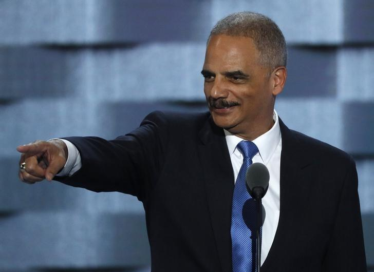 Former U.S. Attorney General Eric Holder speaks during the second day at the Democratic National Convention in Philadelphia, Pennsylvania, U.S. July 26, 2016. REUTERS/Mike Segar/Files