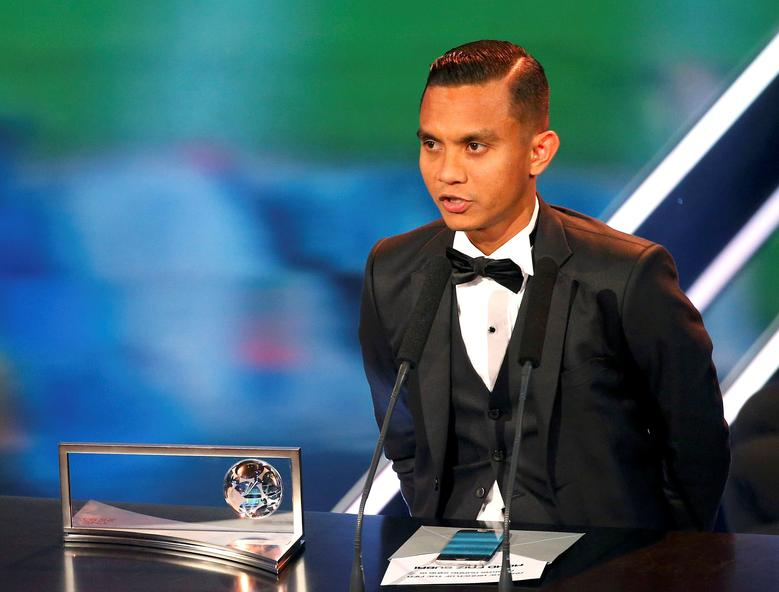 Football Soccer - FIFA Awards Ceremony - Puskas Award - Zurich, Switzerland - 09/01/17.  Mohd Faiz Subri receives the award.  REUTERS/Ruben Sprich/File Photo
