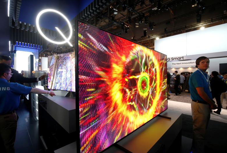 Samsung QLED televisions are displayed during the 2017 CES in Las Vegas, Nevada January 5, 2017. REUTERS/Steve Marcus