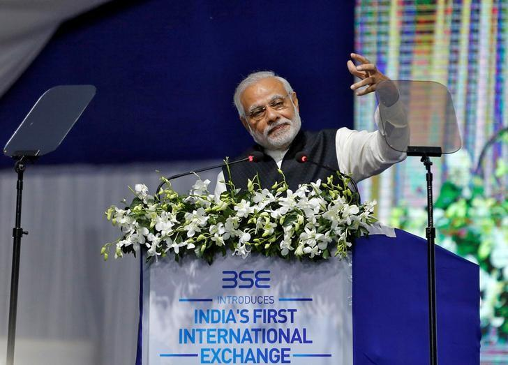 India's Prime Minister Narendra Modi delivers a speech after he inaugurated the country's first international exchange - India INX in Gujarat International Finance Tec-City (GIFT) in Gandhinagar, India, January 9, 2017. REUTERS/Amit Dave