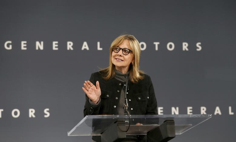 General Motors Chairman and CEO Mary Barra announces that Chevrolet will begin testing a fleet of Bolt autonomous vehicles in Michigan during a news conference in Detroit, Michigan, U.S., December 15, 2016.  REUTERS/Rebecca Cook/File Photo