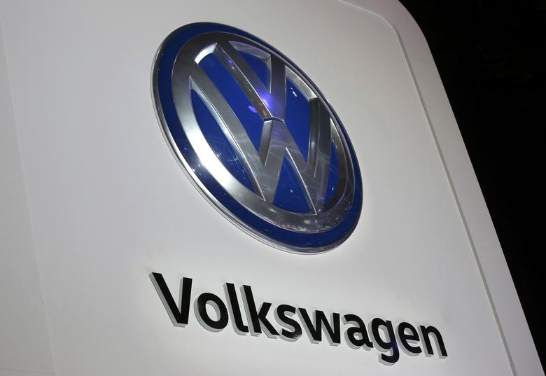 The Volkswagen logo is seen at the company's display during the North American International Auto Show in Detroit, Michigan, U.S., January 10, 2017.  REUTERS/Mark Blinch