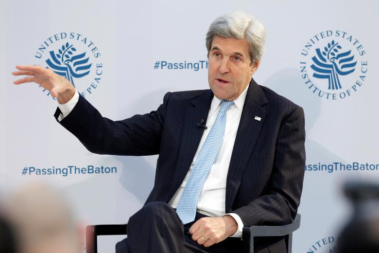 U.S. Secretary of State John Kerry delivers remarks at the U.S. Institute of Peace ''2017 Passing the Baton'' conference in Washington, U.S., January 10, 2017. REUTERS/Yuri Gripas