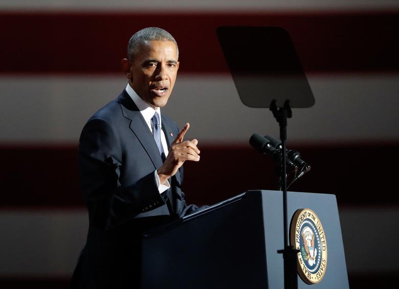2017年1月10日,美国总统奥巴马在芝加哥发表卸任演说。REUTERS/John Gress