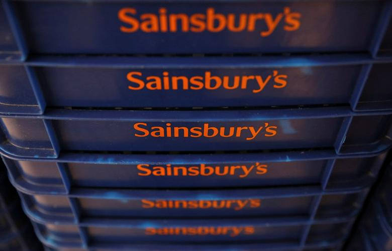 FILE PHOTO - Shopping baskets are displayed at a Sainsbury's store in London, Britain April 30, 2016. Photograph taken April 30, 2016.  REUTERS/Neil Hall/File Photo