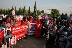 Police disrupt a rally by the #BringBackOurGirls campaign, which is protesting in Nigeria's capital Abuja to mark 1,000 days since over 200 schoolgirls were kidnapped from their secondary school in Chibok by Islamist sect Boko Haram, Nigeria January 8, 2017. REUTERS/Afolabi Sotunde