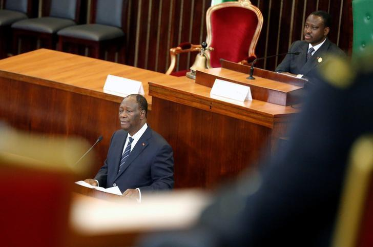 Ivory Coast's President Alassane Ouattara speaks to Parliament members inside the Ivorian parliament in Abidjan, Ivory Coast January 10, 2017. REUTERS/Thierry Gouegnon