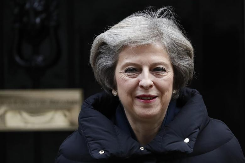 Britain's Prime Minister Theresa May leaves Downing Street in London, Britain January 11, 2017. REUTERS/Stefan Wermuth