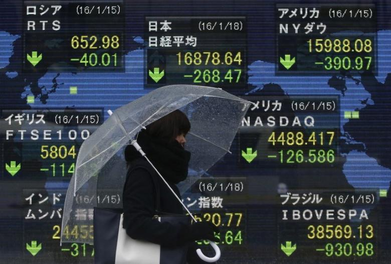 A pedestrian holding an umbrella walks past at an electronic board showing the stock market indices of various countries outside a brokerage in Tokyo, Japan, January 18, 2016. REUTERS/Yuya Shino