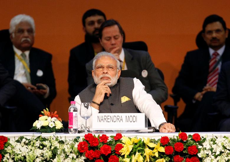 Prime Minister Narendra Modi attends the Vibrant Gujarat investor summit in Gandhinagar, India, January 10, 2017. REUTERS/Amit Dave/Files