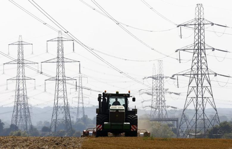 A farmer works in a field surrounded by electricity pylons in Ratcliffe-on-Soar, in central England, September 10, 2014.  REUTERS/Darren Staples