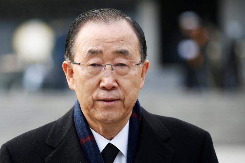 Former U.N. secretary-general Ban Ki-moon leaves after paying a tribute at the natioanl cemetery in Seoul, South Korea, January 13, 2017.  REUTERS/Kim Hong-Ji