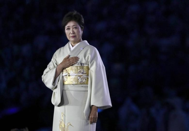 Tokyo governor Yuriko Koike is seen on stage.   REUTERS/Stefan Wermuth