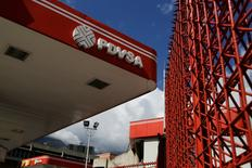 The logo of the Venezuelan state oil company PDVSA is seen at a gas station in Caracas, Venezuela January 11, 2017.  REUTERS/Marco Bello