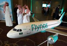 A model of Saudi airline Flynas is on display during a ceremony to sign a deal between Airbus andFlynas in Riyadh, Saudi Arabia January 16, 2017. REUTERS/Faisal Al Nasser