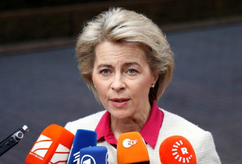 German Defence Minister Ursula von der Leyen briefs the media as she arrives at a European defence ministers meeting in Brussels, Belgium, November 15, 2016. REUTERS/Francois Lenoir