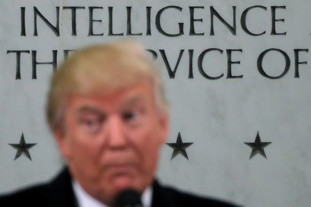 U.S. President Donald Trump delivers remarks during a visit to the Central Intelligence Agency (CIA) in Langley, Virginia U.S., January 21, 2017. U.S. REUTERS/Carlos Barria