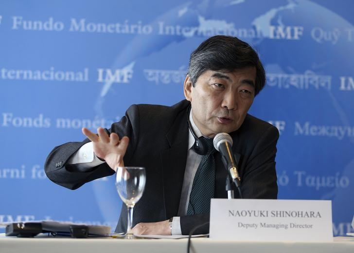 IMF Deputy Managing Director Naoyuki Shinohara gestures during a news conference in Montevideo February 28, 2014.  REUTERS/Andres Stapff