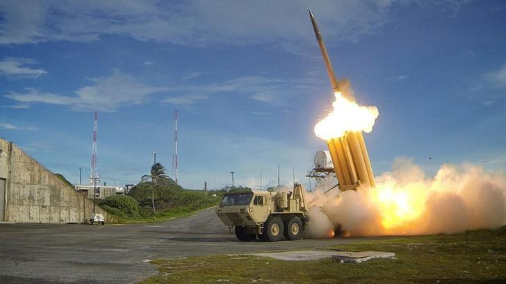 FILE PHOTO - A Terminal High Altitude Area Defense (THAAD) interceptor is launched during a successful intercept test, in this undated handout photo provided by the U.S. Department of Defense, Missile Defense Agency.  U.S. Department of Defense, Missile Defense Agency/Handout via Reuters/File Photo