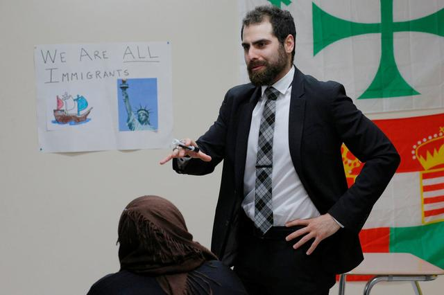 Nadeem Mazen, Cambridge city councillor, Muslim and founder of JetPAC, speaks to students in the AP Government class at Al-Noor Islamic high school in Mansfield, Massachusetts, U.S. February 2, 2017. . REUTERS/Brian Snyder