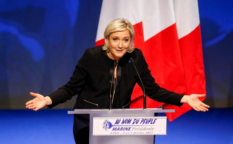 Marine Le Pen, French National Front (FN) political party leader and candidate for the French 2017 presidential election, attends the 2-day FN political rally to launch the presidential campaign in Lyon, France February 5, 2017. REUTERS/Robert Pratta
