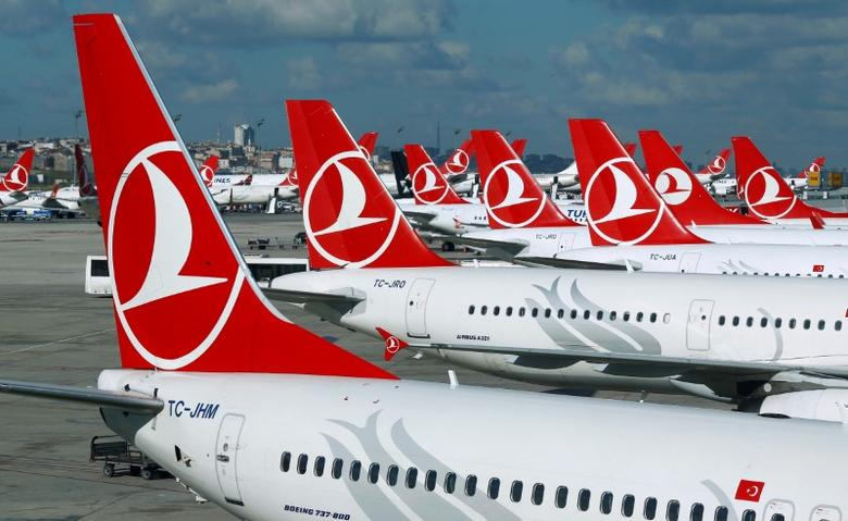 FILE PHOTO: Turkish Airlines aircrafts are parked at the Ataturk International airport in Istanbul, Turkey, December 3, 2015. REUTERS/Murad Sezer/File Photo