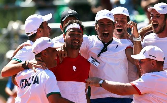 2月6日、男子テニスの国別対抗戦、デビス杯ワールドグループ1回戦、イタリアがアルゼンチンを通算3勝2敗で下し、準々決勝に進出した(2017年 ロイター/Marcos Brindicci)